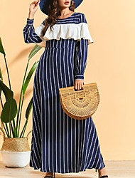 cheap -Women's Maxi Navy Blue Dress Swing Striped M L