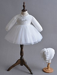 cheap -Ball Gown Floor Length First Communion Christening Gowns - Polyester Long Sleeve Jewel Neck with Lace / Bow(s)