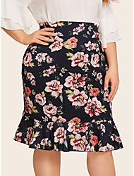 cheap -Women's Going out / Casual / Daily Basic A Line Skirts - Floral Black XL XXL XXXL