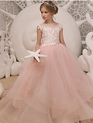 cheap -Ball Gown Floor Length Wedding / Birthday Flower Girl Dresses - Polyester Sleeveless Jewel Neck with Ruffles / Appliques
