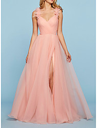cheap -A-Line Elegant Pink Engagement Prom Dress V Neck Sleeveless Sweep / Brush Train Tulle with Split Appliques 2020