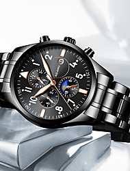 cheap -Men's Mechanical Watch Automatic self-winding Fashion Water Resistant / Waterproof Analog Black / Silver Black Blue / One Year / Titanium Alloy