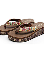 cheap -Women's Sandals Flat Heel Open Toe PU Summer Brown