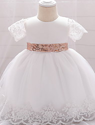cheap -Ball Gown Floor Length Wedding / Party Christening Gowns - Lace / Satin / Tulle Sleeveless Jewel Neck with Bow(s) / Paillette