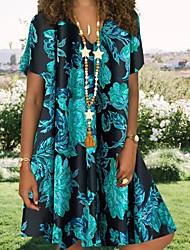 cheap -Women's Shirt Dress - Short Sleeves Print Blue Yellow Khaki S M L XL XXL XXXL XXXXL XXXXXL