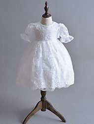 cheap -Ball Gown Floor Length First Communion Christening Gowns - Polyester 3/4 Length Sleeve Jewel Neck with Lace / Bow(s)