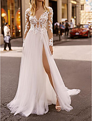 cheap -A-Line Wedding Dresses Plunging Neck Sweep / Brush Train Lace Tulle Chiffon Over Satin Long Sleeve Country Plus Size with Lace Embroidery Split Front 2020