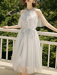 cheap -A-Line Halter Neck Tea Length Tulle Bridesmaid Dress with Pleats