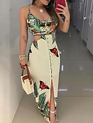 cheap -Women's Strap Dress Maxi long Dress Beige Long Sleeve Print Hot S M L XL