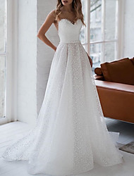 cheap -A-Line Wedding Dresses Jewel Neck Sweep / Brush Train Tulle Polyester Sleeveless Country Plus Size Illusion Sleeve with Beading 2020