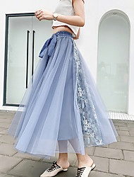 cheap -Women's Swing Skirts - Solid Colored Blushing Pink Blue Black One-Size