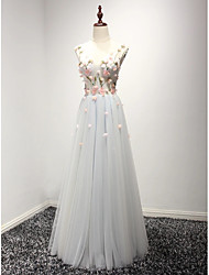 cheap -A-Line Floral White Engagement Prom Dress Illusion Neck Sleeveless Floor Length Tulle with Pleats Appliques 2020