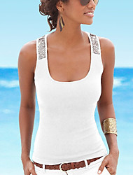cheap -Women's Tank Top Color Block Sequins Round Neck Basic Tops Black