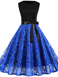 cheap -Women's A-Line Dress Knee Length Dress - Sleeveless Solid Color Lace up Lace Patchwork Summer Vintage Party Slim 2020 Black Blue Red Wine Green S M L XL XXL 3XL