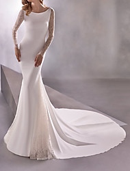cheap -Mermaid / Trumpet Wedding Dresses Bateau Neck Sweep / Brush Train Polyester Long Sleeve Formal Plus Size Illusion Sleeve with Lace Insert 2020