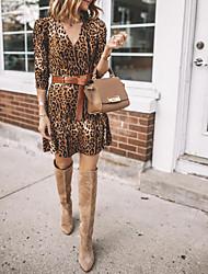 cheap -Women's Brown Dress Sheath Leopard V Neck S M Slim