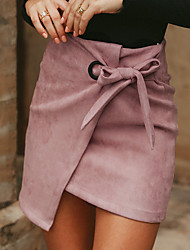 cheap -Women's Bodycon Skirts - Solid Colored Blushing Pink Black S M L