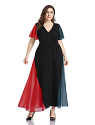 cheap -Women's Maxi A Line Dress - Short Sleeves Color Block Solid Color Bow Patchwork Spring & Summer V Neck Casual Elegant Daily Going out Flare Cuff Sleeve Loose Red XL XXXL XXXXL XXXXXL