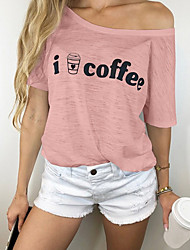 cheap -Women's Letter Loose T-shirt Daily One Shoulder Black / Blushing Pink / Gray