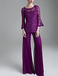 cheap -Pantsuit / Jumpsuit Scalloped Neckline Floor Length Chiffon / Lace Long Sleeve Elegant Mother of the Bride Dress with Lace 2020