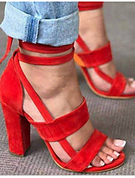 cheap -Women's Sandals Heel Sandals Summer Chunky Heel Peep Toe Daily Synthetics Black / Red / Army Green