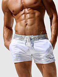 Недорогие -Муж. Классический Белый Черный Плавки-боксеры Пляжные шорты Купальники купальник - Однотонный M L XL Белый
