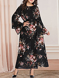 cheap -Women's A-Line Dress Maxi long Dress - Long Sleeve Floral Print Plus Size Casual Vintage Flare Cuff Sleeve Oversized Black XL XXL 3XL 4XL 5XL