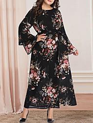 cheap -Women's Plus Size Maxi A Line Dress - Long Sleeve Floral Print Casual Vintage Party Daily Flare Cuff Sleeve Belt Not Included Loose Black XL XXL XXXL XXXXL XXXXXL