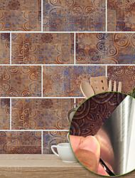 Недорогие -20x10cmx9pcs теплый металл старинные кирпичные наклейки ретро маслостойкие водонепроницаемые плитки обои для кухни ванная комната первый этаж украшения дома