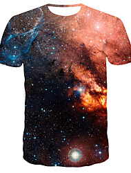 お買い得  -男性用 3D プリント スリム Tシャツ 日常 ラウンドネック オレンジ / 半袖
