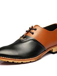 Недорогие -Муж. Полиуретан Весна лето Английский Туфли на шнуровке Контрастных цветов Черный