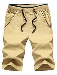 cheap -Men's Sporty Basic Plus Size Holiday Going out Slim Cotton Sweatpants Shorts Pants - Solid Colored Sporty Print Drawstring Breathable Summer Wine Black Khaki US38 / UK38 / EU46 / US40 / UK40 / EU48