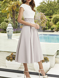 cheap -A-Line Mother of the Bride Dress Elegant Jewel Neck Ankle Length Polyester Short Sleeve with Pleats 2021