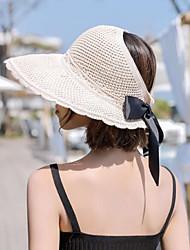 Недорогие -Жен. Классический Соломенная шляпа Шляпа от солнца Хлопок Полиэстер,Цветочный принт Все сезоны Хаки Бежевый