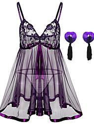 cheap -Women's Lace / Sequins / Cut Out Plus Size Erotic Suits Nightwear Solid Colored Purple Black S M L