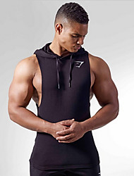 cheap -Men's Cartoon Tank Top - Cotton Sports Hooded Wine / Black / Light gray / Sleeveless