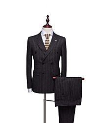 cheap -Tuxedos Tailored Fit Peak Double Breasted Six-buttons Polyester Stripes / Textured / Fashion