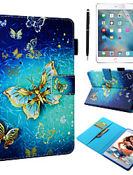 Недорогие -кейс&усилитель; Стилус&усилитель; 1 шт. Экран защиты для Apple Ipad Mini 12345 с подставкой / флип / ультратонкий задняя крышка бабочка / цветок искусственная кожа