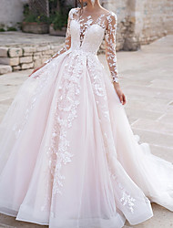 cheap -Ball Gown Wedding Dresses Jewel Neck Court Train Polyester Long Sleeve Country Plus Size with Appliques 2020