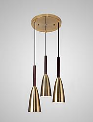 cheap -3-Light 45 cm Single Design Pendant Light Metal Basic / Mini / Asymmetric Hem Electroplated Nature Inspired / Nordic Style 110-120V / 220-240V