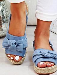 cheap -Women's Sandals Flat Sandal Summer Flat Heel Peep Toe Daily PU Yellow / Blue / Beige