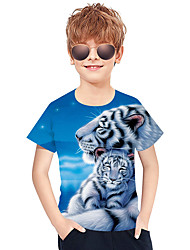 cheap -Kids Toddler Boys' Active Basic Tiger Geometric 3D Animal Print Short Sleeve Tee Blue