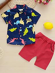 cheap -Baby Boys' Basic Dinosaur Print Print Short Sleeve Long Long Clothing Set Navy Blue
