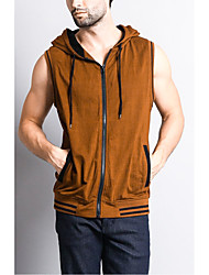cheap -Men's Solid Colored Tank Top Daily Sports Hooded White / Blue / Camel / Sleeveless