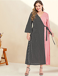 cheap -Women's Plus Size Maxi A Line Dress - Long Sleeve Striped Color Block Solid Color Patchwork Spring & Summer V Neck Casual Elegant Daily Going out Flare Cuff Sleeve Blushing Pink L XL XXL XXXL XXXXL