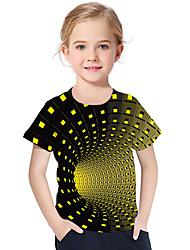 cheap -Kids Toddler Girls' Active Basic Geometric Print Color Block Print Short Sleeve Tee Purple