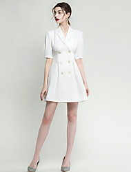 cheap -A-Line Minimalist White Homecoming Cocktail Party Dress V Neck Half Sleeve Short / Mini Spandex with Buttons 2020