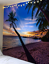 cheap -Sell like hot cakes with the sea coconut trees tapestry or background cloth or decorative cloth, polyester fiber material