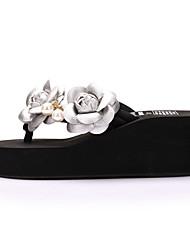 cheap -Women's Slippers & Flip-Flops Wedge Heel Open Toe Pearl / Satin Flower Polyester Sweet / British Walking Shoes Summer Fuchsia / Pink / Gold