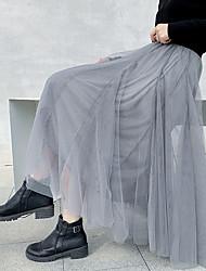 cheap -Women's Swing Skirts - Solid Colored Blushing Pink Black Gray XL XXL XXXL